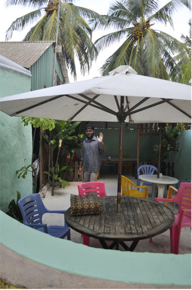 Hassan at the local cafe in Dhiffushi